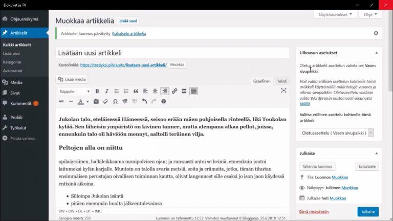 Wordpress-artikkelin lisääminen