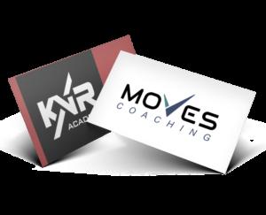 Käyntikortit joissa yritysten logoja